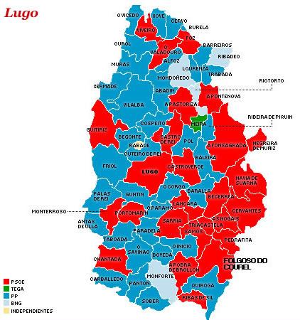 Mapa político municipal de Lugo