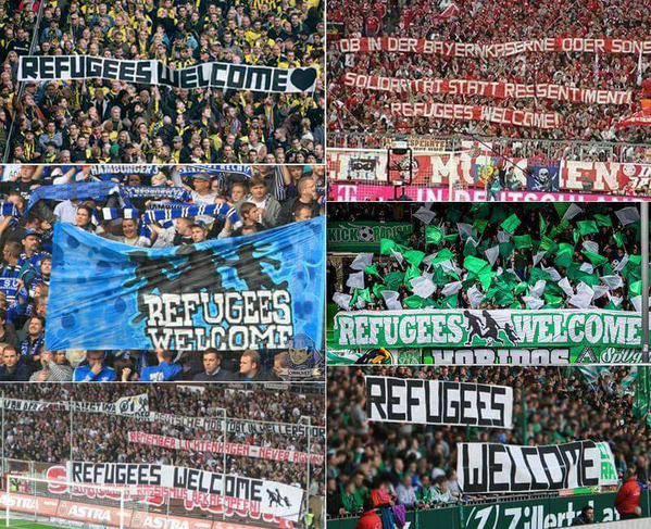 Bienvenida a refugiados en diversos partidos Bundesliga