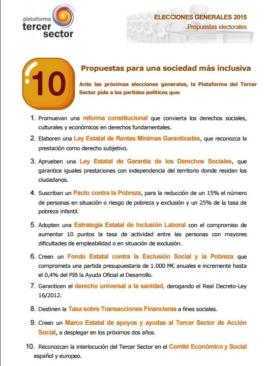 Propuestas 20D Plataforma Tercer Sector