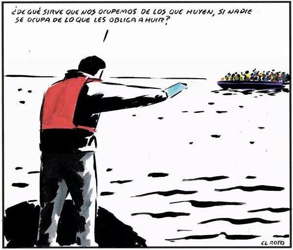 Refugiados El Roto causas huir
