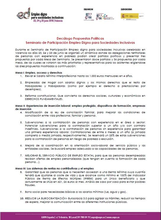 Decalogo propuestas politicas. Seminario Participación empleo digno Valencia 0616