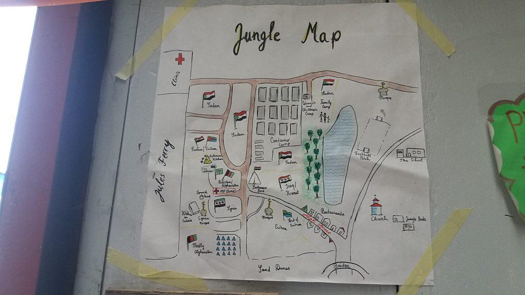 Boceto del mapa del campo de refugiadas en los almacenes de Care4Calais. Foto: AC