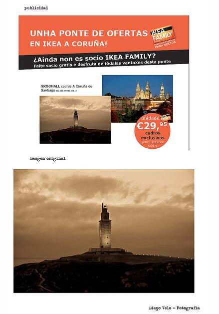 Imagen de Ikea y la original de Diego Velo