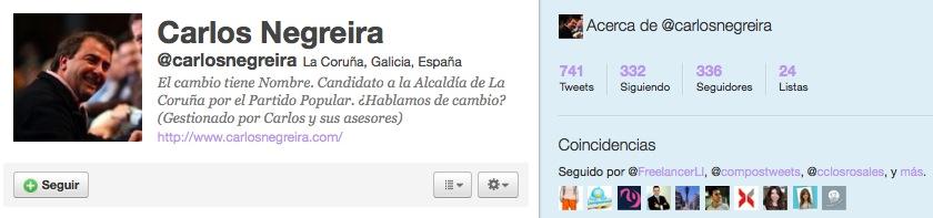Twitter de Carlos Negreira, del PP de A Coruña