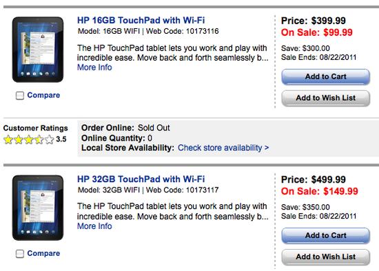 Touchpads de HP a 99 y 149 USD