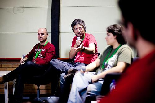 Encuentro de Podcasters en EBE11. Rafa Osuna, J.A. Gelado, María Ruíz y Frank Blanco
