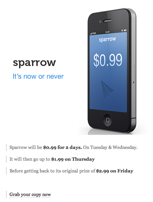 Sparrow para iPhone en oferta