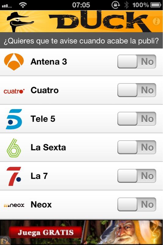 App Duck para iPhone. Fuera anuncios de TV