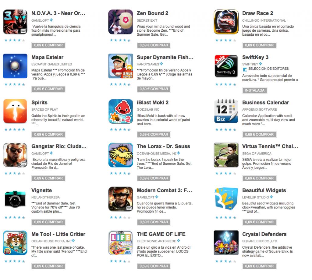 Aplicaciones oferta Google Play