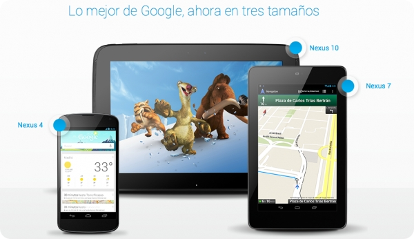 Dispositivos Google Nexus: 4, 7, y 10