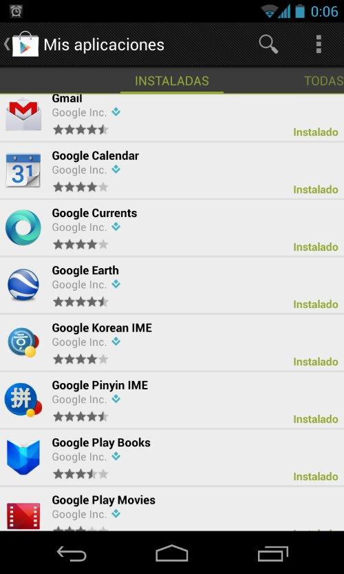 Aplicaciones de Google preinstaladas en Android
