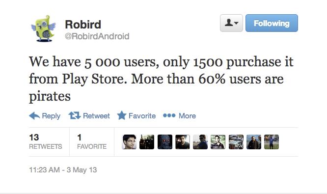 Robird y la piratería en Android