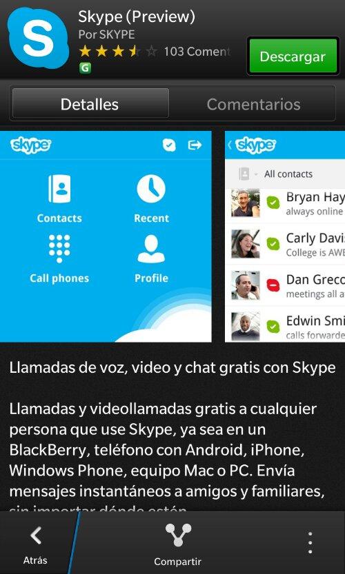 Skype para Blackberry 10.1