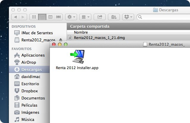 Instalador de Renta 2012 en Mac OSX
