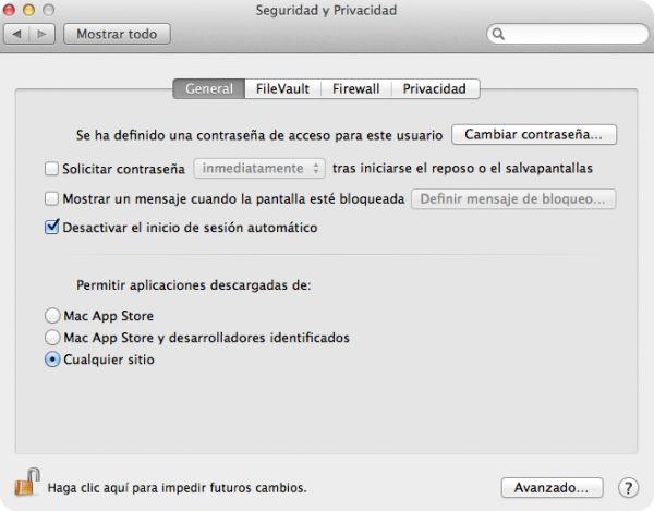 Configuración de Mac OSX. Seguridad y Privacidad