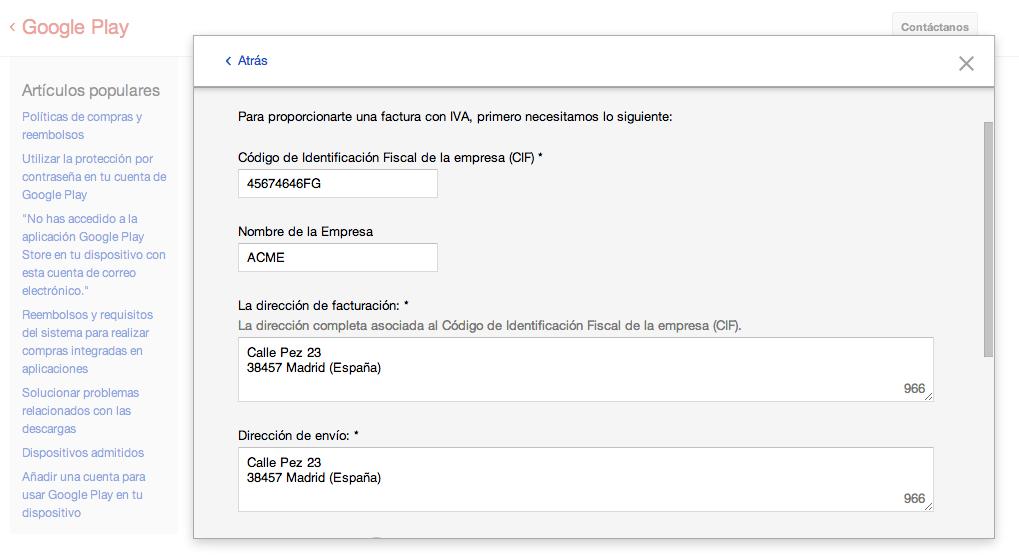 Cómo solicitar una factura de las compras de Google Play (Nexus)
