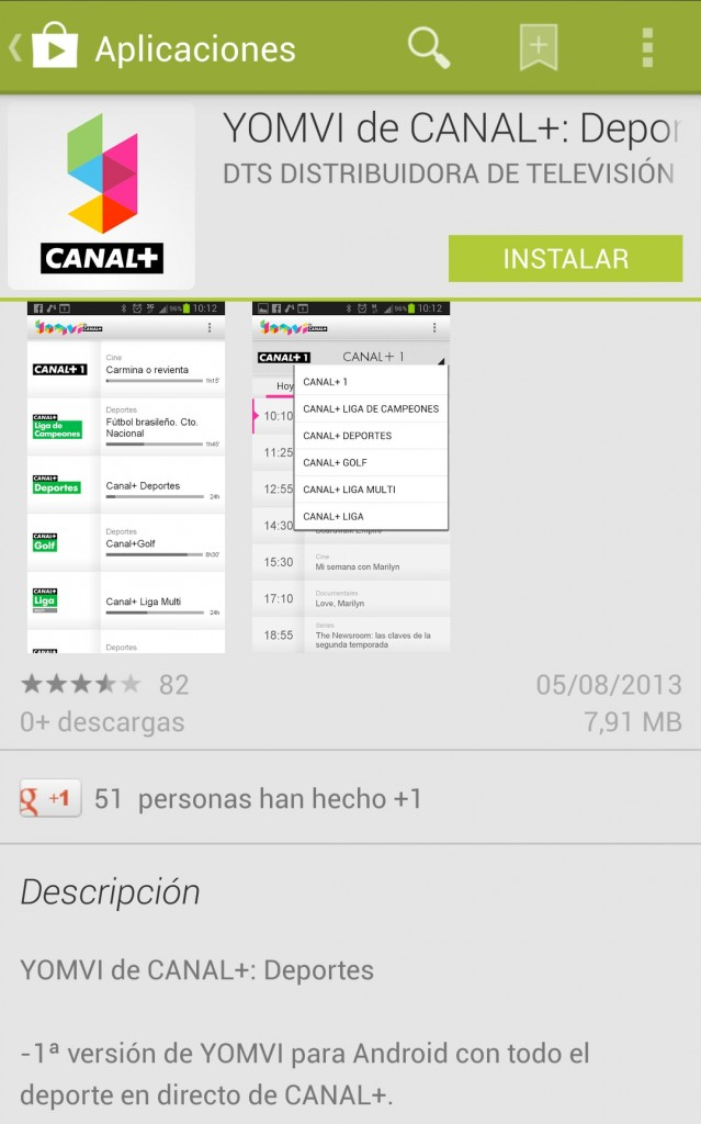 Yomvi de Canal+, ya disponible para Android